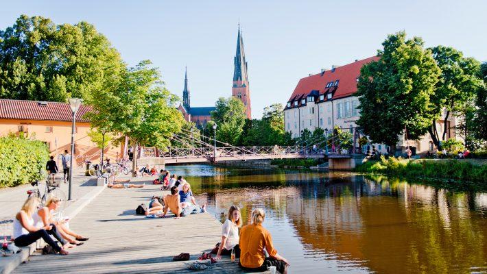 Uppsala Domkyrka och Fyrisån. Foto: Niclas Lundegård.