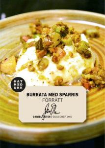 Burrata med sparris och persika